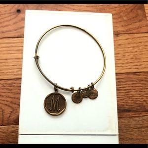 Alex and Ani M initial bracelet gold